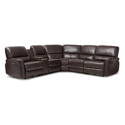 Polett Power Reclining Sectional with USB Ports Upholstery: Dark Brown