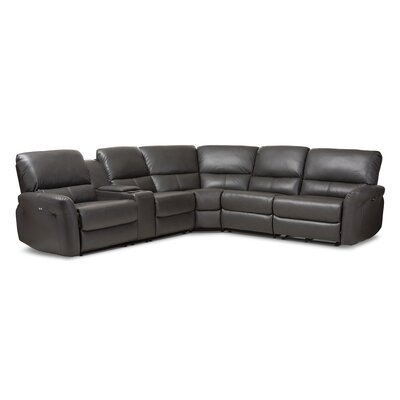 Polett Power Reclining Sectional with USB Ports Upholstery: Gray