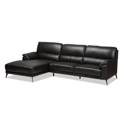 Rickman Left Facing Chaise 2-Piece Sectional Upholstery: Black