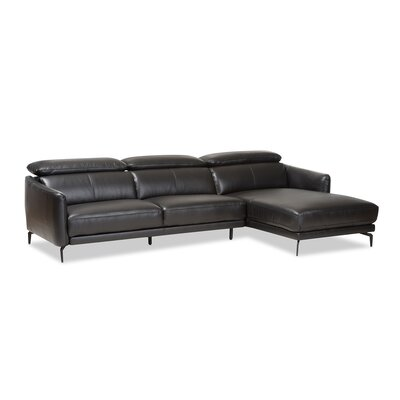 Ridder Right Facing Chaise 2-Piece Sectional Upholstery: Black
