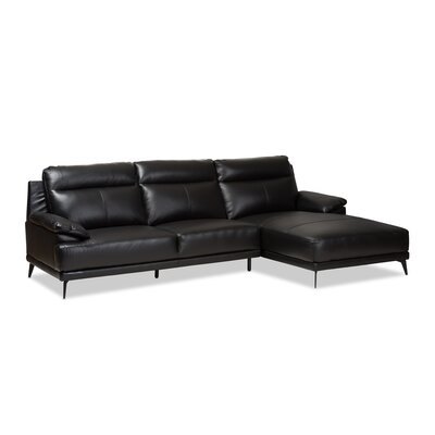 Riddles Right Facing Chaise 2-Piece Sectional Upholstery: Black