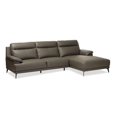 Riddles Right Facing Chaise 2-Piece Sectional Upholstery: Dark Gray
