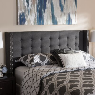 Jude Upholstered Wingback Headboard Color: Dark Gray