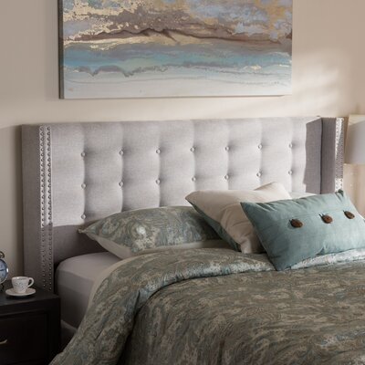 Jude Upholstered Wingback Headboard Color: Grayish Beige