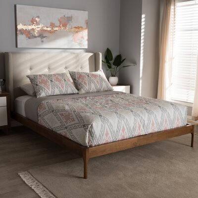 Bonnie Upholstered Platform Bed Size: King, Color: Light Beige