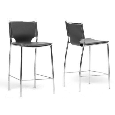 Baxton Studio 26 inch Bar Stool Upholstery: Black