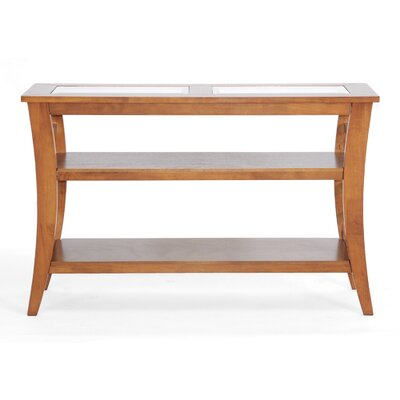 Cheap Wholesale Interiors Baxton Studio Allison Honey Wood Modern Console Table with Glass Inlay (WHI1972)