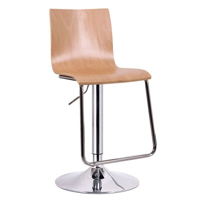 Brydon Adjustable Height Swivel Bar Stool Upholstery: Light Wood