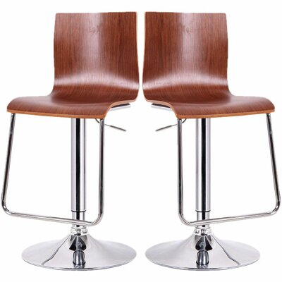 Baxton Studio Adjustable Height Swivel Bar Stool Upholstery: Walnut