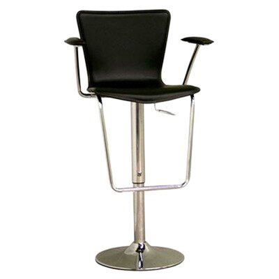 Baxton Studio Adjustable Height Swivel Bar Stool Upholstery: Black