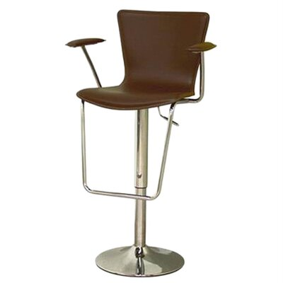 Baxton Studio Adjustable Height Swivel Bar Stool Upholstery: Brown
