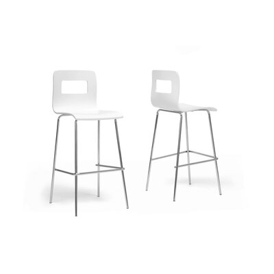 Baxton Studio 28.5 Bar Stool Upholstery: White