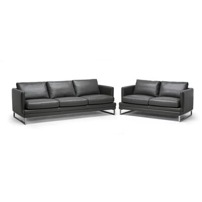 Wholesale Interiors 1378-DU8145 2PC set Baxton Studio Dakota Leather Sofa Set