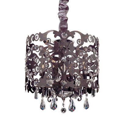 Bizet 4-Light Drum Chandelier Crystal: Firenze Clear, Finish: Sienna Bronze