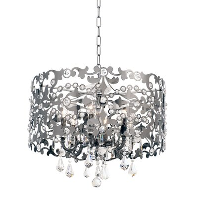 Bizet 6-Light Drum Chandelier Finish: Black Pearl, Crystal: Firenze Clear