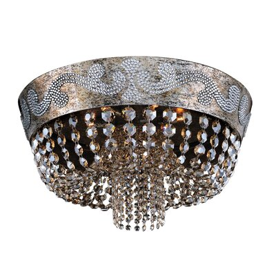 Romanov 7-Light Semi-Flush Mount Crystal: Firenze Fleet Gold
