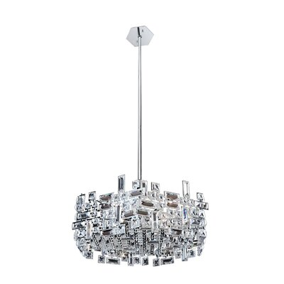 Vermeer 6-Light Drum Pendant Finish: Chrome, Crystal: Firenze Clear