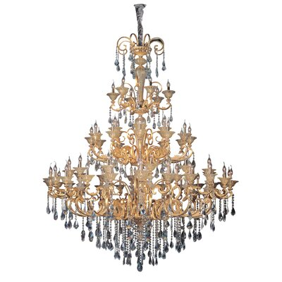 Legrenzi 66-Light Crystal Chandelier Crystal: Firenze Clear, Finish: Two-Tone Gold /24K