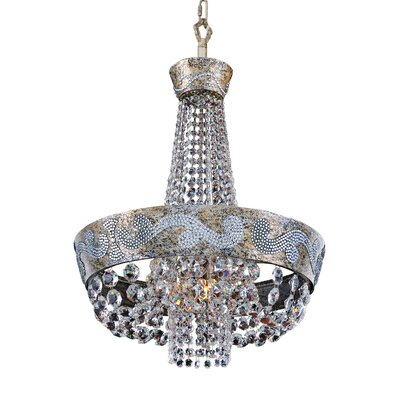 Romanov 6-Light Empire Chandelier Crystal: Firenze Fleet Gold