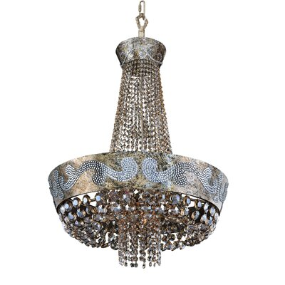 Romanov 11-Light Empire Chandelier Crystal: Firenze Fleet Gold