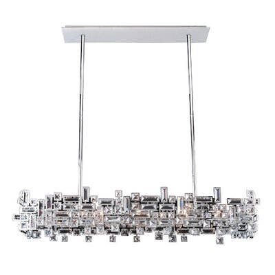 Vermeer 8-Light Kitchen Island Pendant Crystal: Swarovski Elements Clear, Finish: Chrome