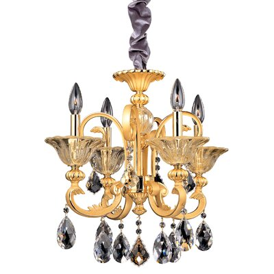 Legrenzi 4-Light Crystal Chandelier Crystal: Firenze Clear, Finish: Antique Silver Leaf