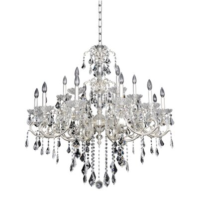 Praetorius 18-Light Crystal Chandelier Crystal: Firenze Clear, Finish: 2-Tone Silver