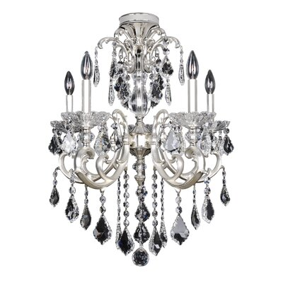 Praetorius 5-Light Crystal Chandelier Crystal: Firenze Clear, Finish: 2-Tone Silver