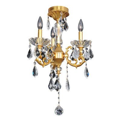 Praetorius 3-Light Crystal Chandelier Finish: French Gold / 24K, Crystal: Firenze Clear