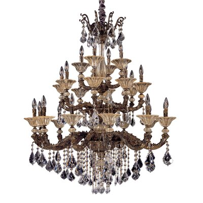 Mendelsshon 24-Light Crystal Chandelier Finish: Antique Gold Leaf, Crystal: Firenze Clear
