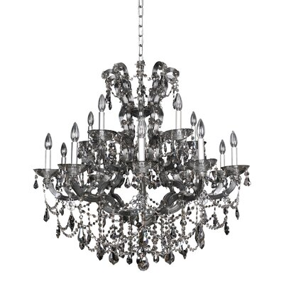 Brahms 15-Light Crystal Chandelier Crystal: Firenze Smoked Fleet Argentine