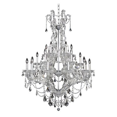 Brahms 24-Light Crystal Chandelier Crystal: Firenze Smoked Fleet Argentine