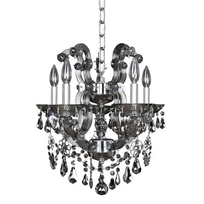 Brahms 5-Light Crystal Chandelier Crystal: Firenze Smoked Fleet Argentine
