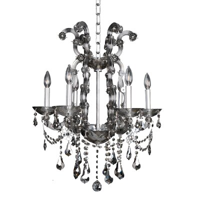 Brahms 6-Light Crystal Chandelier Crystal: Firenze Smoked Fleet Argentine