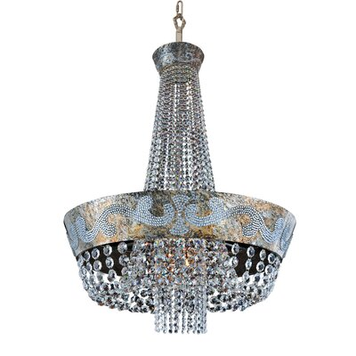 Romanov 12-Light Empire Chandelier Crystal: Firenze Fleet Gold