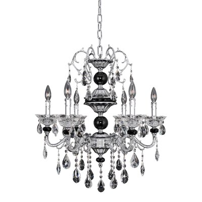Faure 6-Light Crystal Chandelier Crystal: Swarovski Elements Clear
