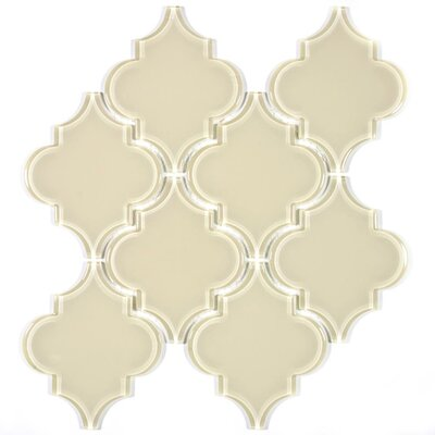 Water Jet 3.9 x 4.7 Glass Mosaic Tile in Cream