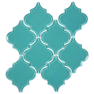 Water Jet 3.9 x 4.7 Glass Mosaic Tile in Teal