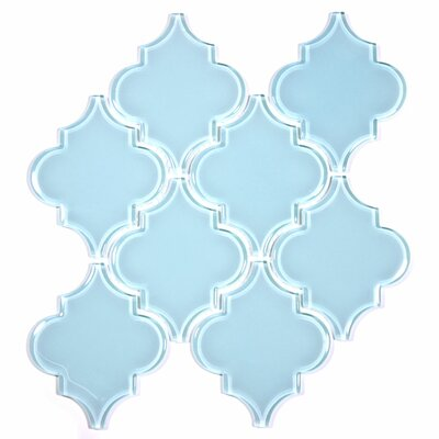 Water Jet 3.9 x 4.7 Glass Mosaic Tile in Baby Blue