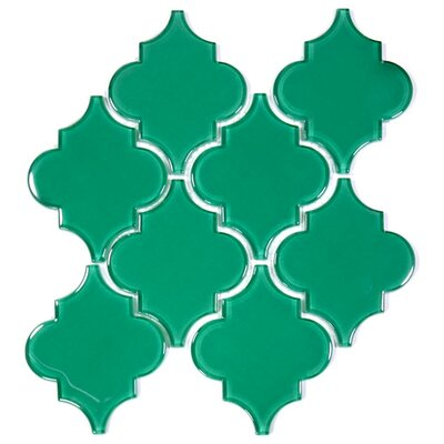 Water Jet 3.9 x 4.7 Glass Mosaic Tile in Emerald Green