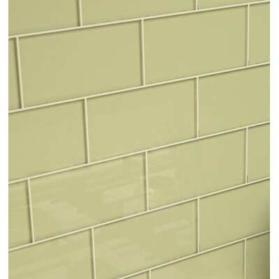 3 x 6 Glass Subway Tile in Light Olive