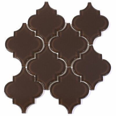 Water Jet 3.9 x 4.7 Glass Mosaic Tile in Classic Brown