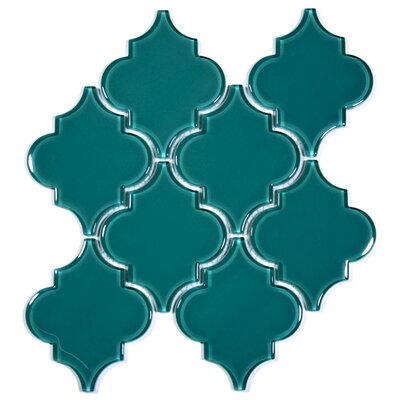 Water Jet 3.9 x 4.7 Glass Mosaic Tile in Dark Teal
