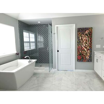Water Jet 3.9 x 4.7 Glass Mosaic Tile in True Gray
