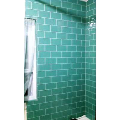 3 x 6 Glass Subway Tile in Teal