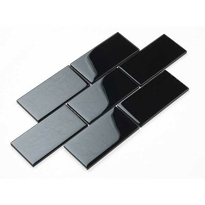 3 x 6 Glass Subway Tile in Black