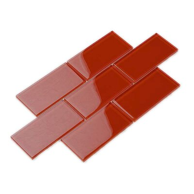3 x 6 Glass Subway Tile in Ruby Red