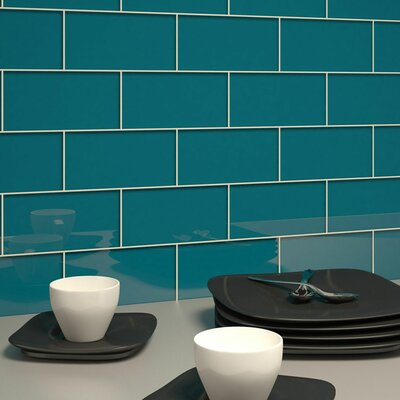3 x 6 Glass Subway Tile in Dark Teal