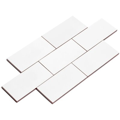 "Giorbello 3"" x 6"" Glass Subway Tile in Bright White G5910"