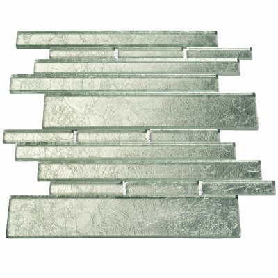 Club Random Sized Glass Mosaic Tile in Silver